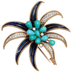 Bulgari Unusual Turquoise Diamond Palm Tree Brooch