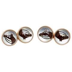 Enamel and Gold Horse Cufflinks
