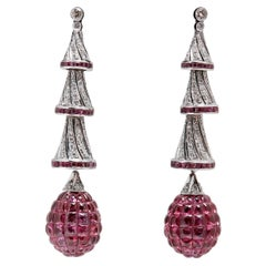 Invisible Set Rubies Diamonds Ear-Pendants
