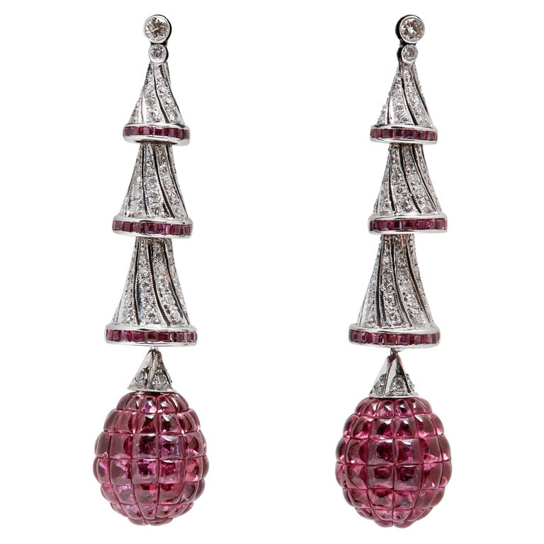 Invisible Set Rubies Diamonds Ear-Pendants For Sale