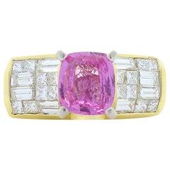 1.60 Carat Cushion Pink Sapphire, Baguette & Princess cut Diamond Cocktail Ring