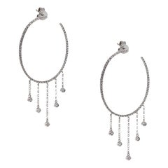 Round Diamond Pave Oval Dangle Hoops