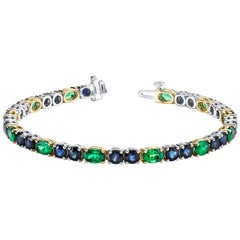 Tsavorite Garnet and Blue Sapphire 18k Yellow and White Gold Tennis Bracelet