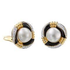 David Webb 18 Karat Gold and Platinum South Sea Pearl, Enamel, Diamond Earrings