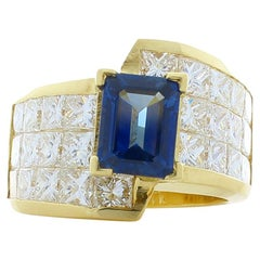 1.80 Carat Emerald Cut Blue Sapphire and Princess Cut Diamond Cocktail Ring