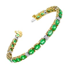 Tsavorite Garnet and Diamond Bracelet, 18 Karat Yellow and White Gold