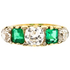 Victorian Five-Stone Diamond Emerald Half Hoop Ring