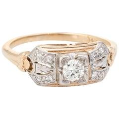 Antique Diamond Ring Art Deco 14 Karat Gold Two-Tone Alternative Vintage