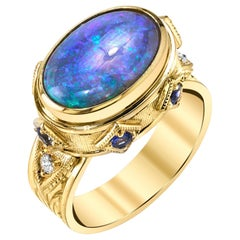 Australian Black Opal, Sapphire and Diamond 18 Karat Yellow Gold Ring