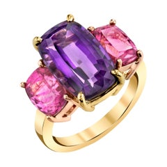 6.32 Carat Amethyst and Pink Tourmaline 3-Stone Ring  18k Yellow and Pink  Gold