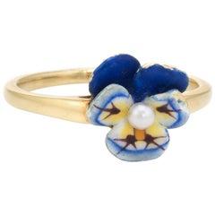 Antique Enamel Pansy Ring Art Nouveau 14 Karat Gold Larter & Sons Vintage Fine
