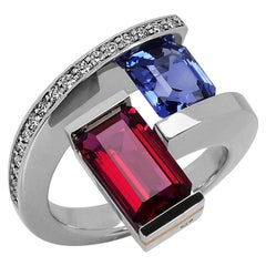 Platinum 2-Stone Helix Ring with Tension-Set Blue Sapphire and Rubellite