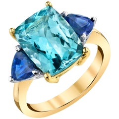 4.65 ct. Aquamarine Cushion, Blue Sapphire Trillion 18k Yellow Gold 3-Stone Ring