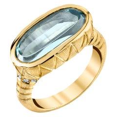 Custom Cut 4.41 Carat Aquamarine Ring, 18 Karat Yellow Gold