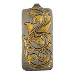 Damascus Steel and 24 Karat Gold Pendant
