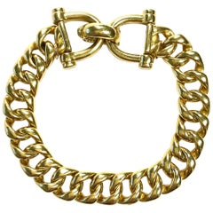 Tiffany & Co. Vintage Large Curb Link Horse Bit Yellow Gold Bracelet