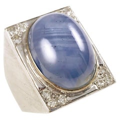 Art Deco 18 Karat Gold Star Sapphire Diamond Ring