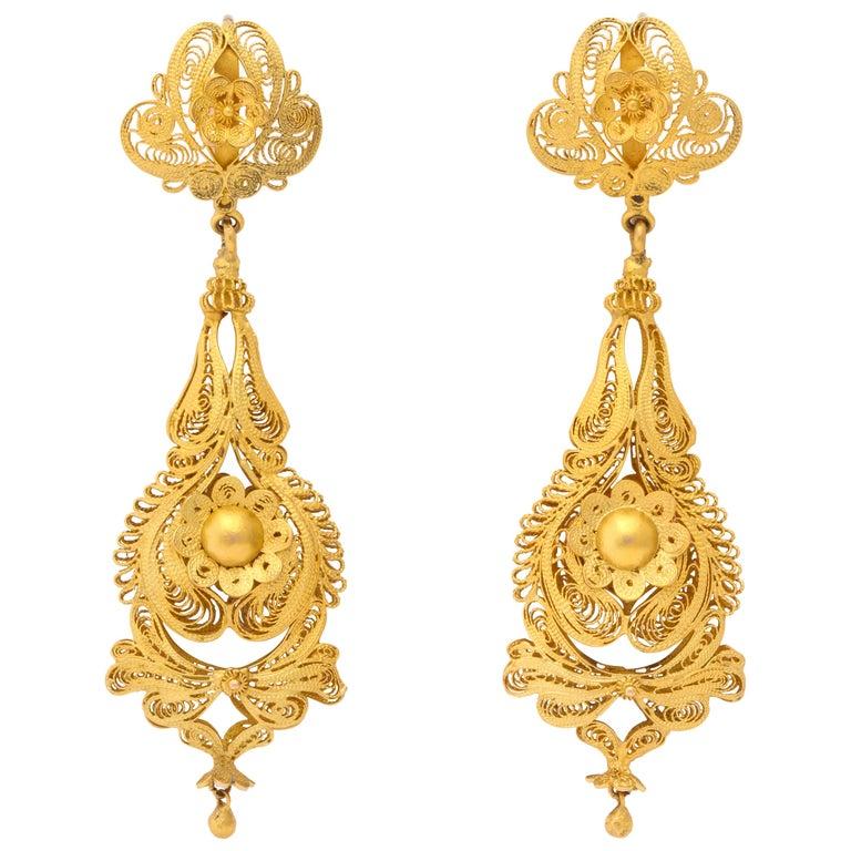 Antique Georgian Gold Filigree Earrings For Sale