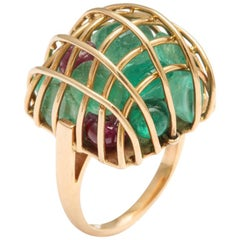 Gold Caged Gemstone Ring with Emeralds and Rubies