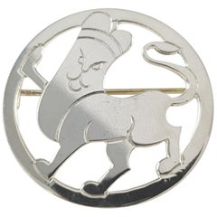 Vintage Art Deco London 1933 H.G. Murphy Sterling Silver Lion Brooch