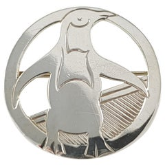 Vintage Art Deco London 1933 H.G. Murphy Sterling Silver Penguin Brooch