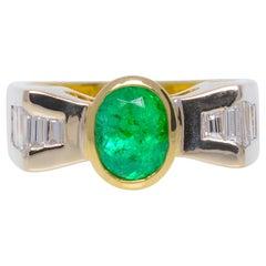 Estate 1.5 Carat Emerald and Diamond Ring 18 Karat Yellow Gold