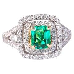 Natural Emerald 1.14 & Natural Diamond .87 Emerald Cut Halo White Gold 14K Ring