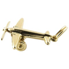 14 Karat Yellow Gold Propeller Airplane Charm