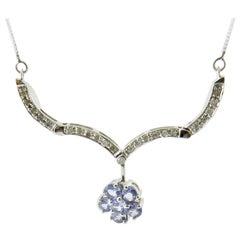 10 Karat White Gold Genuine Tanzanite and Diamond Pendant Necklace