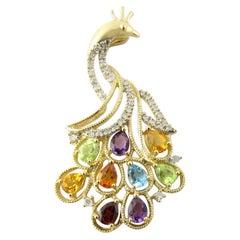 14 Karat Yellow Gold Diamond and Gemstone Peacock Pendant