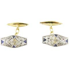 14 Karat Yellow and White Gold, Sapphire and Diamond Cufflinks