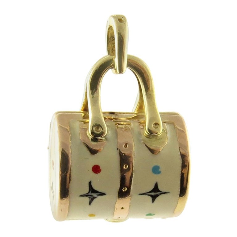 14 Karat Yellow Gold and Enamel Designer Handbag Charm For Sale