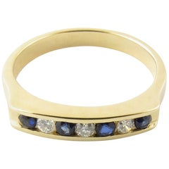 14 Karat Yellow Gold Genuine Sapphire and Diamond Ring