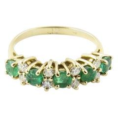 14 Karat Yellow Gold Genuine Emerald and Diamond Ring
