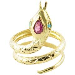 18 Karat Yellow Gold Ruby and Turquoise Snake Ring