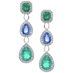 5.4 Carat Emerald and 3.93 Carat Blue Sapphire Diamond Earrings