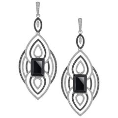 12.70 Carats Black Onyx Earrings With Black and White Diamonds in 18k White Gold
