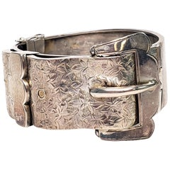 Antique English Sterling Silver Hand Etched Buckle Bracelet