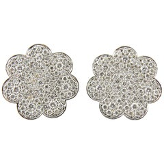 14 Karat White Gold and Diamond Earrings