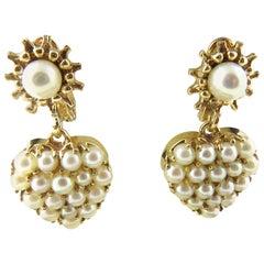 14 Karat Yellow Gold and Pearl Earrings