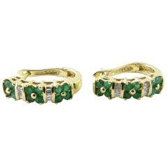 14 Karat Yellow Gold Genuine Emerald and Diamond Earrings