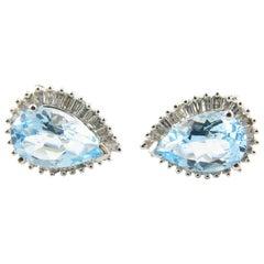 14 Karat White Gold Blue Topaz and Diamond Earrings