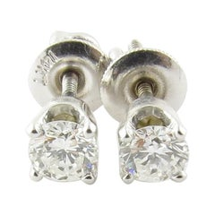 14 Karat White Gold Diamond Stud Earrings .50 Carat Twt