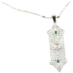 10 Karat White Gold Filigree, Diamond and Sapphire Pendant 14 Karat Necklace