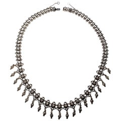 Sweden 830 Silver Repousse Dangle Necklace