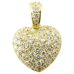 18 Karat Yellow Gold Diamond Heart Pendant
