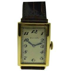 Marcus & Co. 18 Karat Yellow Gold Art Deco Tank Watch by I.W.C, circa 1930s