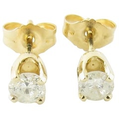 14 Karat Yellow Gold Diamond Stud Earrings .40 Carat Twt