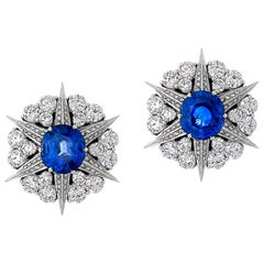 4.25 Carat Blue Sapphire and Diamond Star Cluster Studs In 18 Karat White Gold