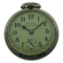 Hamilton Steel Open Faced Railroad Grade Pocket Watch from 1942 or 1943